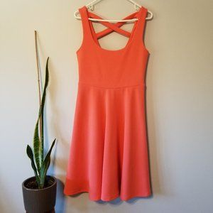 Torrid Sun Dress - Coral with Cross Over Straps